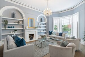 Cotter house 2 st vincent avenue formal living room in soft blues with gold and silver highlights luxury styling