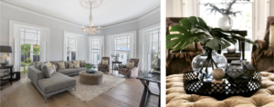 Cotter house 2 st vincent avenue second living room in soft tones with luxury velvet and styling accessories