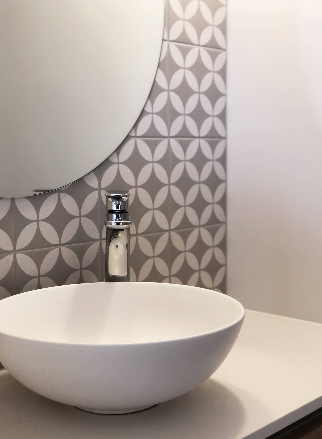 modern clean bathroom vanity design with geometric wall tiles and round surface mount basin