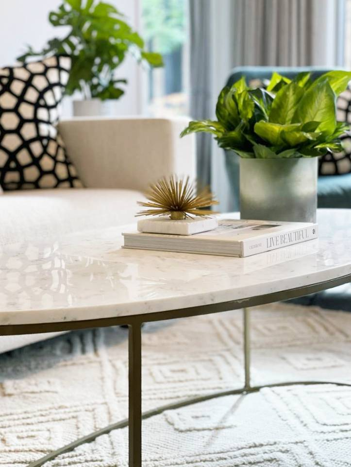 Marble and brass Coffee Table with cream textured rug and bold patterned cushions
