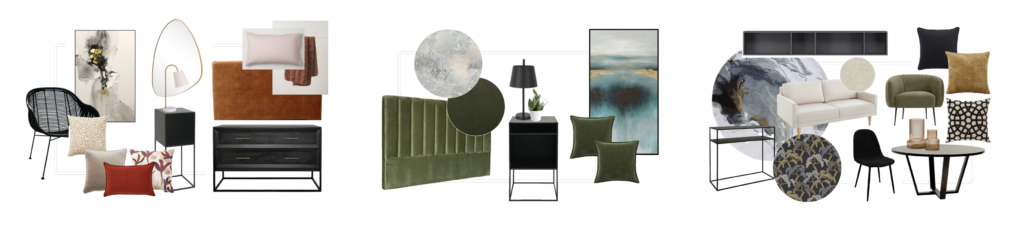 inspiration moodboards for rooms in luxury apartment