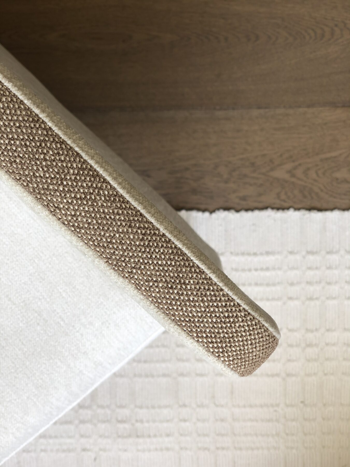 close up of armchair with boho textured fabric