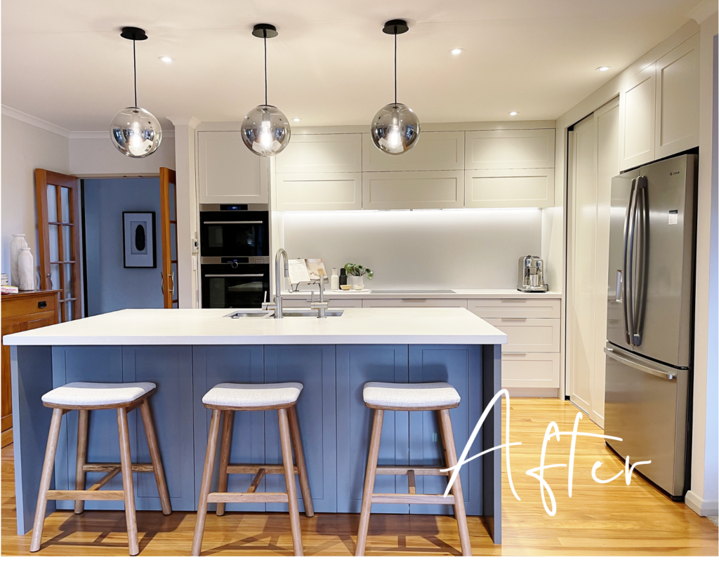 bright and modern contemporary shaker style kitchen with panelling and stone benchtop